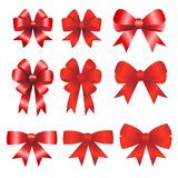 Red ribbons christmas on white background Stock Images