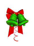 Red ribbons and green bells Stock Photography