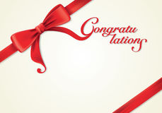 Red ribbons and greeting card, bows, congratulations Stock Photos