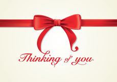 Red ribbons and greeting card, bows, thanks Royalty Free Stock Images