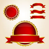 Red ribbons and guarantee signs Royalty Free Stock Images