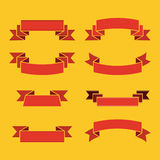 Red ribbons for inscription and lettering on yellow background. Decoration for celebration and holiday. Vector illustration Royalty Free Stock Image