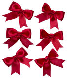 Red ribbons isolated on white. Blank Label, isolated on white background stock images