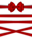 Red ribbons with luxurious bow for decorating gifts and cards Royalty Free Stock Photography