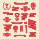 Red ribbons,medal,award ,cup set.Vector.Banner web Stock Images