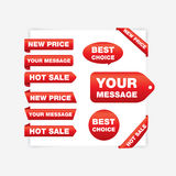 Red ribbons (new price, hot sale). Different red ribbons with texts Royalty Free Stock Image