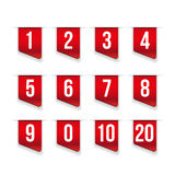Red ribbons with number set Royalty Free Stock Images