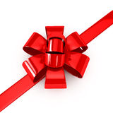 Red ribbons over white background Stock Photos