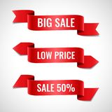 Red ribbons sale banners set. Set of decorative sale banners with text. Red ribbons vector illustration Stock Image