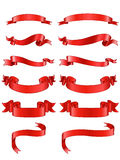 Red ribbons set Royalty Free Stock Photo