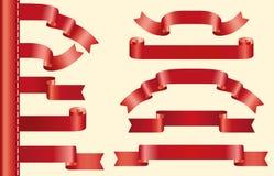 Red  ribbons set Stock Image