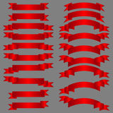 Red ribbons set Stock Photography
