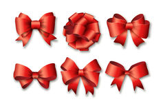 Red ribbons set for gifts Stock Image