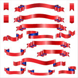 Red Ribbons Set With Gradient, Vector Illustration Royalty Free Stock Photos