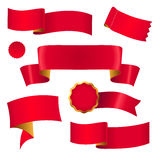 Red ribbons set. Set of red ribbons, tags and labels for design Stock Photo