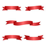 Red ribbons set Royalty Free Stock Photography