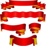 Red ribbons set Royalty Free Stock Image
