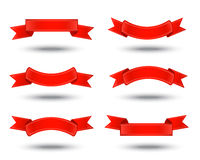 Red ribbons. Six decorative red ribbons on a white background Royalty Free Stock Images