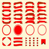 Red ribbons and web elements  set Stock Photos