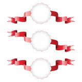 Red ribbons with white labels Royalty Free Stock Photo
