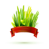 Red ribon with realistic grass illustration Stock Photos