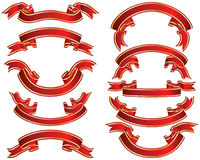 Red ribons set Royalty Free Stock Images