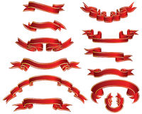 Red ribons set Stock Image