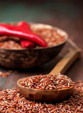 Red rice, chili peppers Royalty Free Stock Photo