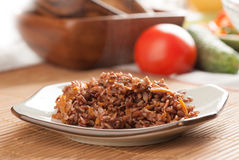 Red rice with onion and carrot Stock Photos