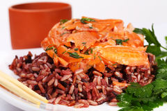 Red rice and shrimp Stock Image