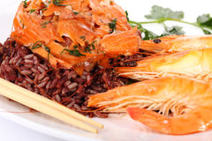Red rice and shrimp Royalty Free Stock Photography