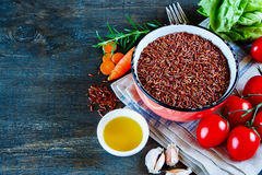 Red rice and vegetables Royalty Free Stock Photo