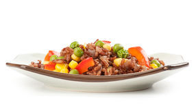 Red rice with vegetables Stock Images