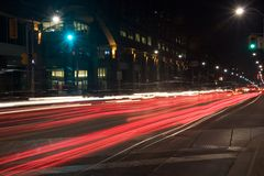 Red riding. Car taillights streaks - street scene Royalty Free Stock Photos