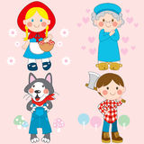 Red Riding Hood. Set of characters from Little Red Riding Hood fairy tale vector illustration