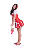 Red Riding Hood. Full-length portrait of Sexy Red Riding Hood isolated on a white Stock Images