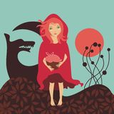 Red Riding Hood. And the Woolf royalty free illustration