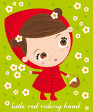 Red riding hood. Illustration of sweet red riding hood with flowers background Stock Photo