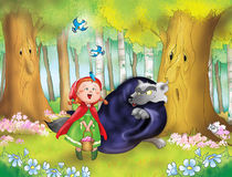 Red Riding Hood And Bad Wolf Royalty Free Stock Photo