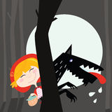 Red Riding Hood And Black Wolf Stock Photos