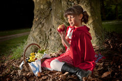 Red riding hood with apple. Little red riding hood sitting on a tree trunk in the forest Royalty Free Stock Images