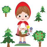 Red riding hood. With basket Royalty Free Stock Images