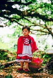 Red riding hood. Beautiful little red riding hood carrying a bucket for her grandmother Stock Image