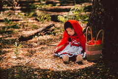 Red riding hood. Beautiful little red riding hood take a rest before she going to her grandmother house Royalty Free Stock Photography