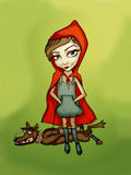 Red Riding Hood. Big bad Red Riding Hood with little wolf crying Stock Photos