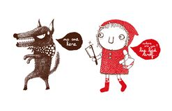 Red Riding Hood and the Big Bad Wolf, revenge of the Red Riding Hood, wolf, hide and seek - Vector stock illustration