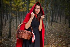 Red Riding Hood cosplay in the forest royalty free stock images