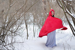 Red Riding Hood on a footpath Royalty Free Stock Images