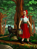 Red Riding Hood. Going through the wood. Digital painting Royalty Free Stock Photo