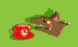 Red riding hood and hungry wolf. Little red (cup) riding hood with hungry (biscuit) wolf in green forest Royalty Free Stock Image